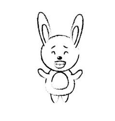 Figure cute rabbit wild animal with face vector