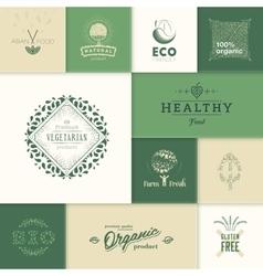Healthy products logos vector image vector image