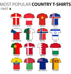 most popular country t-shirts part 4 vector image