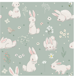 seamless pattern with cute hares with balloons vector image vector image