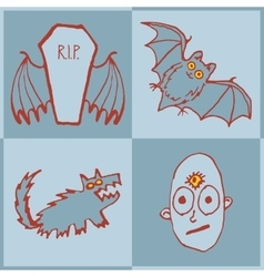 set of funny Halloween monsters Art for vector image