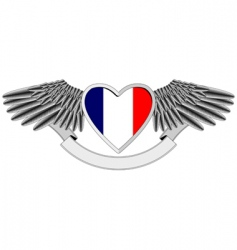winged heart with french flag vector image