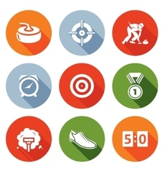 Curling Icons Set vector image