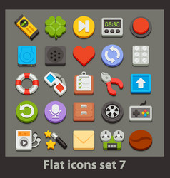flat icon-set 7 vector image vector image