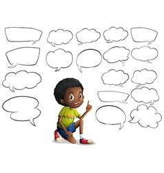Boy and many speech bubbles vector image vector image