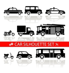 car silhouette icons set with reflection vector image
