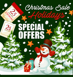 christmas holiday sale shop promo poster vector image