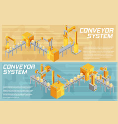 conveyor system isometric banners vector image