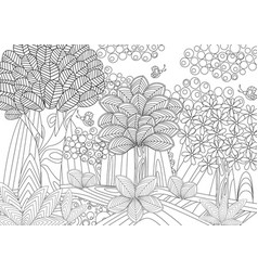 fantasy forest for coloring book vector image vector image