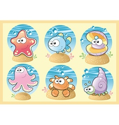 Sea Family with background vector image vector image