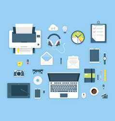 Top view office table vector image