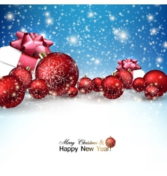 Beautiful Christmas red balls and gifts on snow vector image vector image