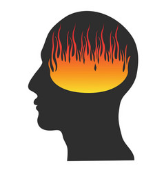 head on fire vector image vector image