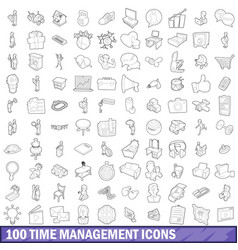 100 time management icons set outline style vector