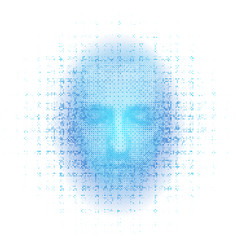 3d rendering of robot face on white background vector