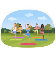 a group of people standing in the yoga position in vector image vector image