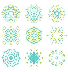 Abstarct natural green and blue ornament object se vector image