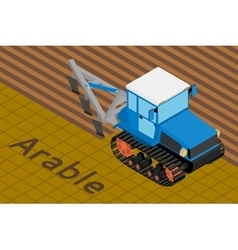 Agricultural crawler tractor with plow tillage a vector image