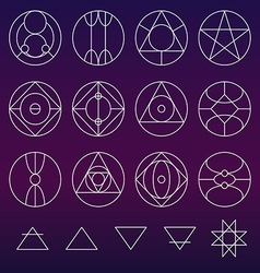 Alchemy symbols collection set line vector