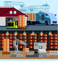 Automated warehouse flat compositions vector