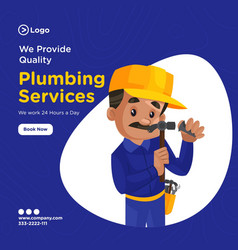 banner design plumbing services vector image