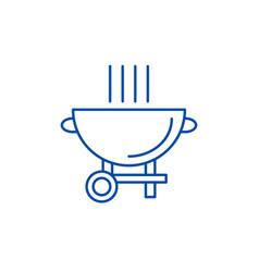 barbecue grill line icon concept barbecue grill vector image