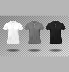 Black white and gray realistic slim male polo t vector