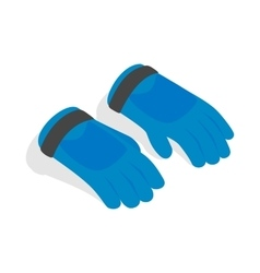 Blue winter ski gloves icon isometric 3d style vector image