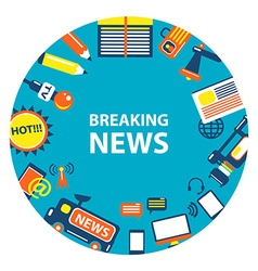 Breaking news emblem vector image