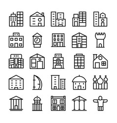 buildings landmarks line icons 2 vector image