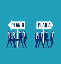 Business team choosing with plan a or plan b vector