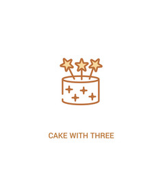 Cake with three candles concept 2 colored icon vector