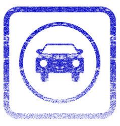 Car framed textured icon vector