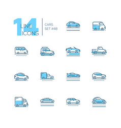 Cars - set of line design style blue icons vector