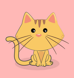 cartoon cat cute emotion pink background im vector image