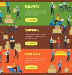 cartoon delivery workers banner horizontal set vector image