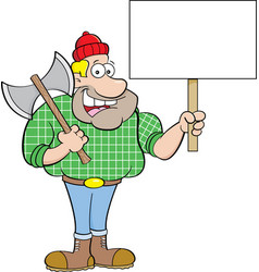 Cartoon lumberjack holding a sign vector
