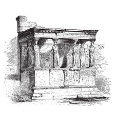 Caryatid porch the erechtheium vintage engraving vector