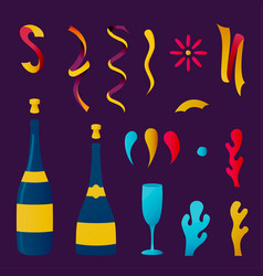 Champagne party drink collection for special event vector
