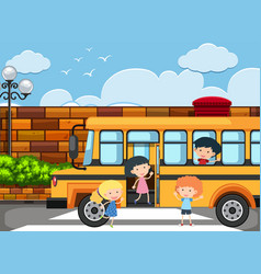 Children getting off the school bus vector