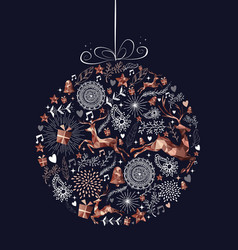 christmas bauble ball with copper low poly deer vector image
