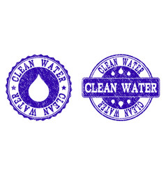 clean water grunge stamp seals vector image