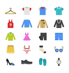 Cloth and Accessory Flat Color Icons vector