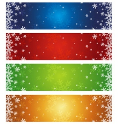color christmas banners with snowflakes vector image