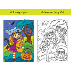 coloring with colored example halloween girl with vector image