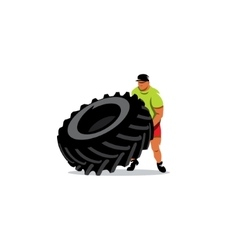 Crossfit training sign Extreme power man flipping vector