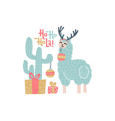 cute alpaca christmas greeting card vector image