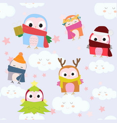 Cute cartoon celebrated owl and gift seamless vector