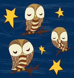 cute dreamed owles seamless pattern vector image