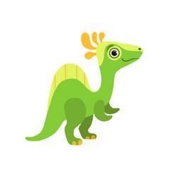 cute spinosaurus dinosaur green baby dino cartoon vector image